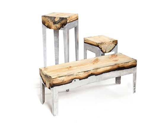 This is such a beautiful and clever idea.  The designer poured metal into castings with the wood to create these unique and beautiful pieces.  Hilla Shamia (www.hillashamia.com)