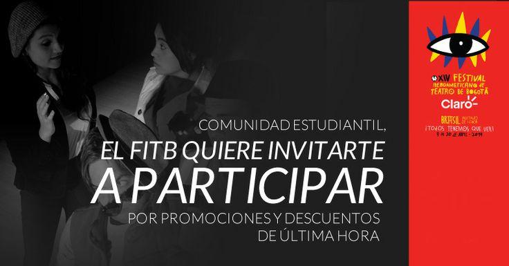La ciudad se llena de cultura gracias al Festival Iberoamericano de Teatro de Bogotá y si es estudiante, todavía puede acceder a grandes eventos con las promociones de última hora ¡Todos tenemos qué ver!  Puede inscribirse al programa en: http://uklz.info/FITB-Estudiantes