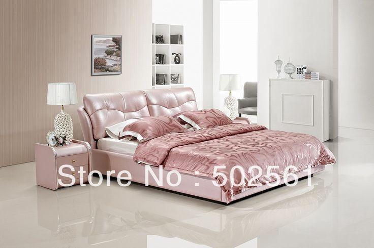 Современные King size Королева современная натуральная кожа кровать глянцевая розовый мебель для спальни Китай
