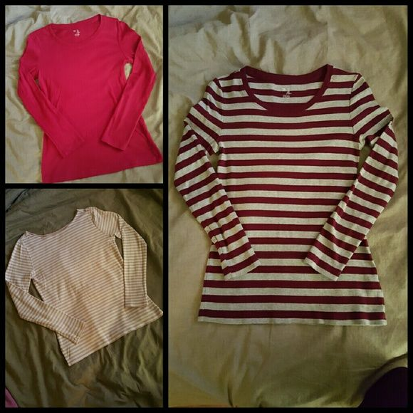 3 GAP Soft long sleeve tee shirts Misjudged the size on these and they're just too small. Wore one time. In like new condition. GAP Tops Tees - Long Sleeve