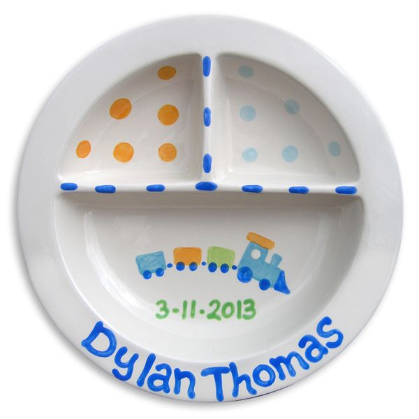 69 best theme precious cargo baby shower images on pinterest train personalized divided plate negle Gallery