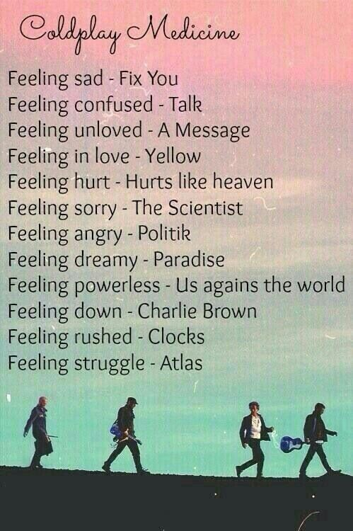Coldplay music.  Funny that yellow is the song for feeling on love since that is my ex and my song