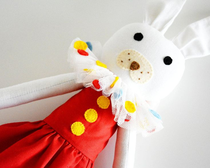 Cute white rabbit soft toy, circus themed, clown toy, rag doll