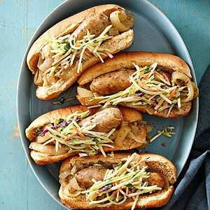 Chicken Bratwurst and Onions with Broccoli Slaw Salad From Better Homes and Gardens, ideas and improvement projects for your home and garden plus recipes and entertaining ideas.