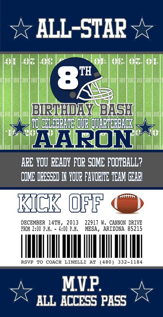 dallas cowboys inspired football ticket birthday invitation
