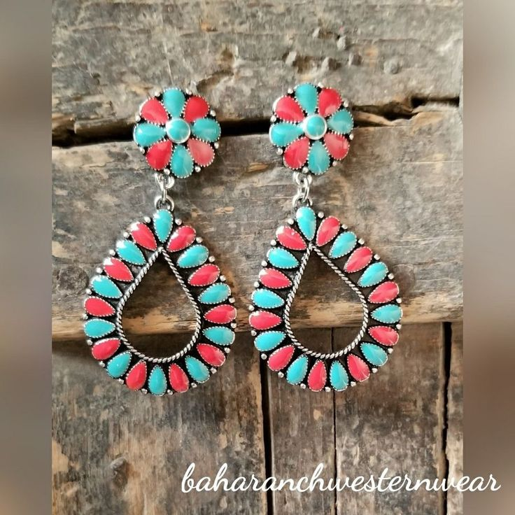 Cowgirl Bling turquoise coral Gypsy EARRINGS silver tone southwestern western #Baharanchwesternwear #wire