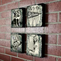4'lü Siyah Beyaz Kızlar Ahşap Duvar Dekoru #maralingo #wall #art #decor