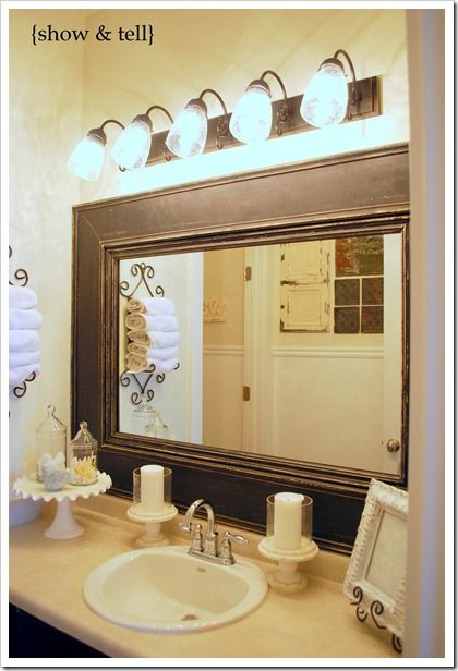 Gallery Website Kids bathroom update Framed builder mirror Diy Mirror Frame