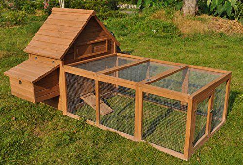 Ardinbir 8 ft huge deluxe solid wood chichken hen coop for Can ducks and chickens share a coop
