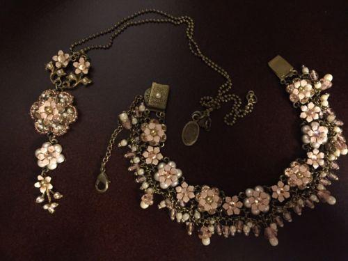 MICHAL-NEGRIN-Flower-Necklace-And-Bracelet-Set-Vintage-Inspired-Hand-Crafted