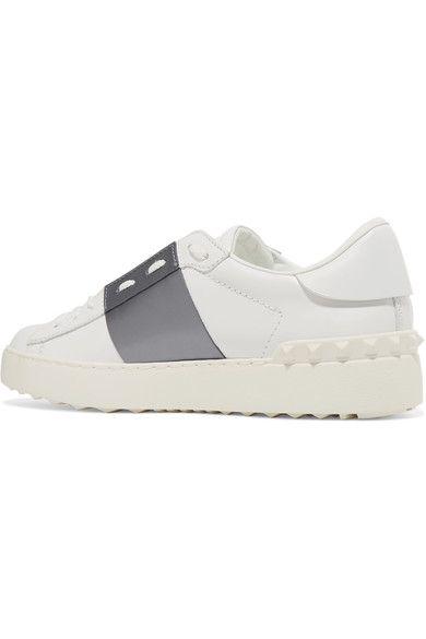 Valentino - Open Metallic-paneled Leather Sneakers - White - IT