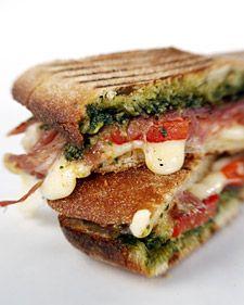 pesto, tomato, mozzarella, prosciutto panini.Pesto Paninis, Sandwiches, Food, Ham, Paninis Recipe, Cooking, Yummy, Martha Stewart, Panini Recipe