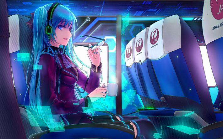 Download wallpapers Hatsune Miku, plane, anime girl, manga, Vocaloid