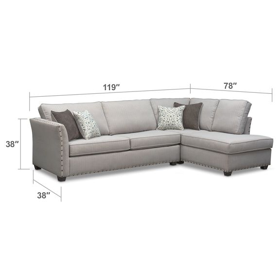Living Room Furniture - Mckenna 2-Piece Sectional - Pewter