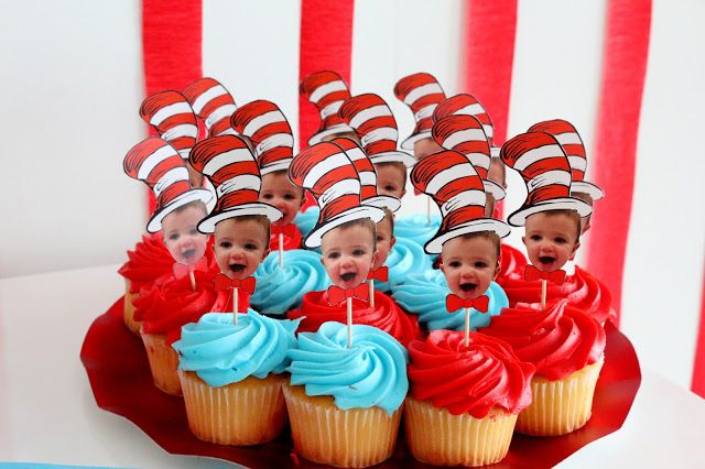 A Dr. Seuss themed one year old birthday party full of color and patterns! | Dr. Seuss Cupcakes