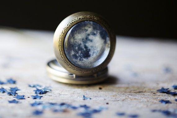 Unique Simple Galaxy Pocket Watch Necklace with Your Choice of Planet, Moon, Sun, Star, Nebula, Galaxy - Space Jewelry, Galaxy Necklace