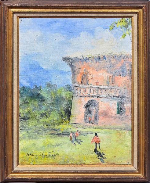 """MANOEL SANTIAGO (1897-1987). """"Paisagem com figuras no ceará"""", óleo s/ tela. 61 x 46. Assinado no c.i.e e no verso (1971). Cachet da tradicional galeria de arte Ipanema no verso."""