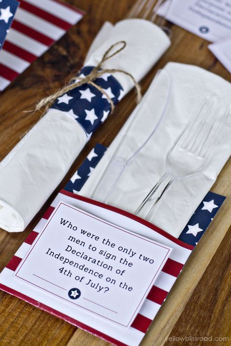 Have a little fun at your 4th of July Party with these educational 4th of July Trivia Cards from @Kristin B | Yellow Bliss Road. There are also free printables that can be made into envelopes or utensil holders!