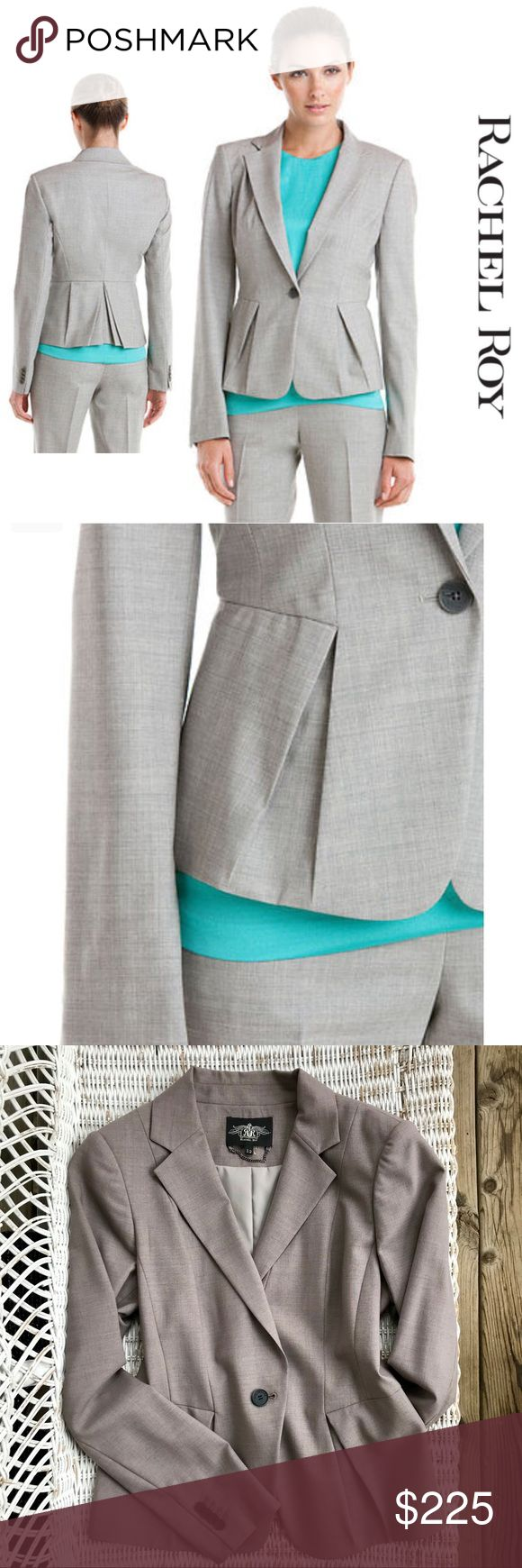 NWOT {Rachel Roy} Pleated Peplum Luxury Blazer ▪️Sharp, clean lines & an ultra-flattering silhouette from luxury designer Rachel Roy in classic gray ▪️High-end materials + superlative craftsmanship ▪️Designer's name printed on buttons ▪️Fully lined — so supersoft + silky against your skin! ▪️A must-have career blazer! ▪️$495 New purchased at Nieman Marcus ▪️Lightly padded shoulders  ▪️Measurements shown in photos  🔺🔻BRAND NEW — NEVER WORN! Rachel Roy Jackets & Coats Blazers