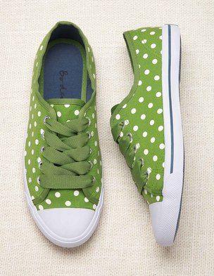 too cute -- green polka dot sneakers