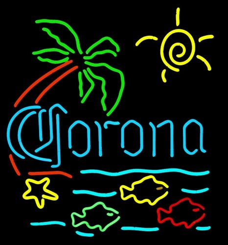 Corona tropical fish neon beer signs neon pinterest for Fish neon sign