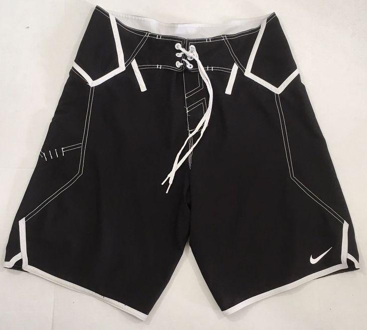 Nike Simple Data Board Shorts Swim Trunks Black White Size 32 Unlined Medium  #Nike #Trunks