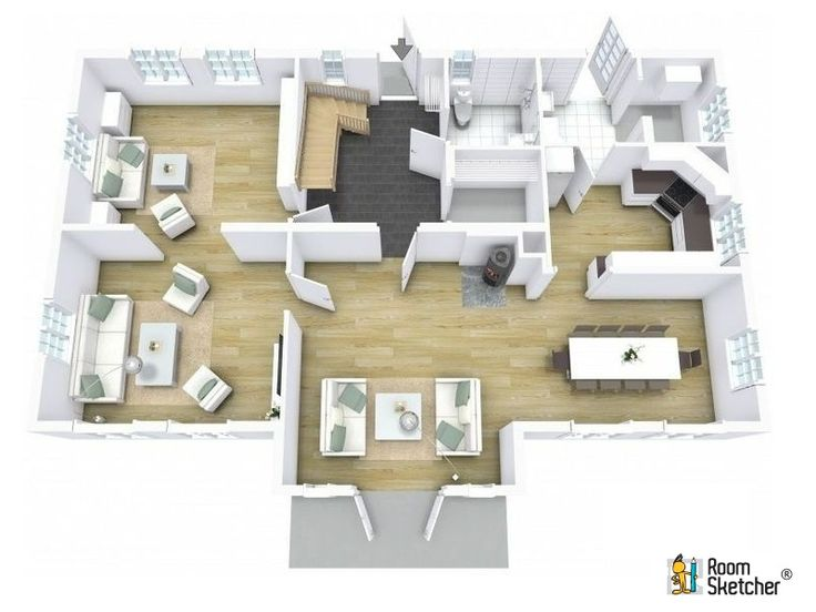 floor plan featuring multiple materials, hardwood floors, and down stairs.  Designed in Business Edition Floor Planner.