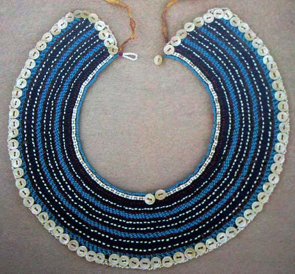 South Africa  | Collar necklace from the Fingo people.  ca. 1930s | Glass beads, button, cotton