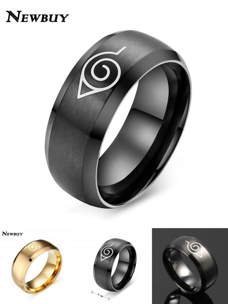 [Visit to Buy] NEWBUY New Fashion Naruto Ring Black And Gold-color Cool Men Jewelry Stainless Steel Anime Ring Cool Men Accessories Hot Sale #Advertisement