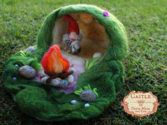Little Gnome in his Home. Waldorf Mini Needle-Felted Playscape by Castle of Costa Mesa