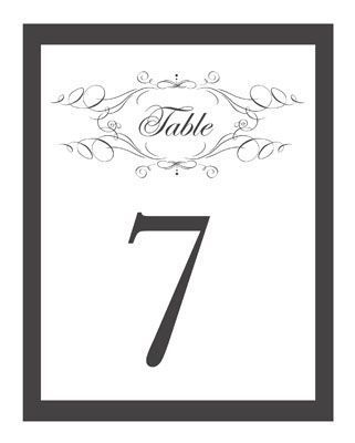 Hundreds of Free Wedding Templates for DIY Brides: Wedding Table Number Templates