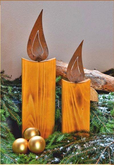 holzkerze mit edelrost flamme im 2er set von ellasdekokrempel edelrost deko artikel auf. Black Bedroom Furniture Sets. Home Design Ideas