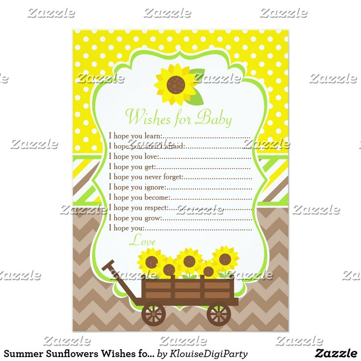 Summer Sunflowers Wishes for Baby Advice Card