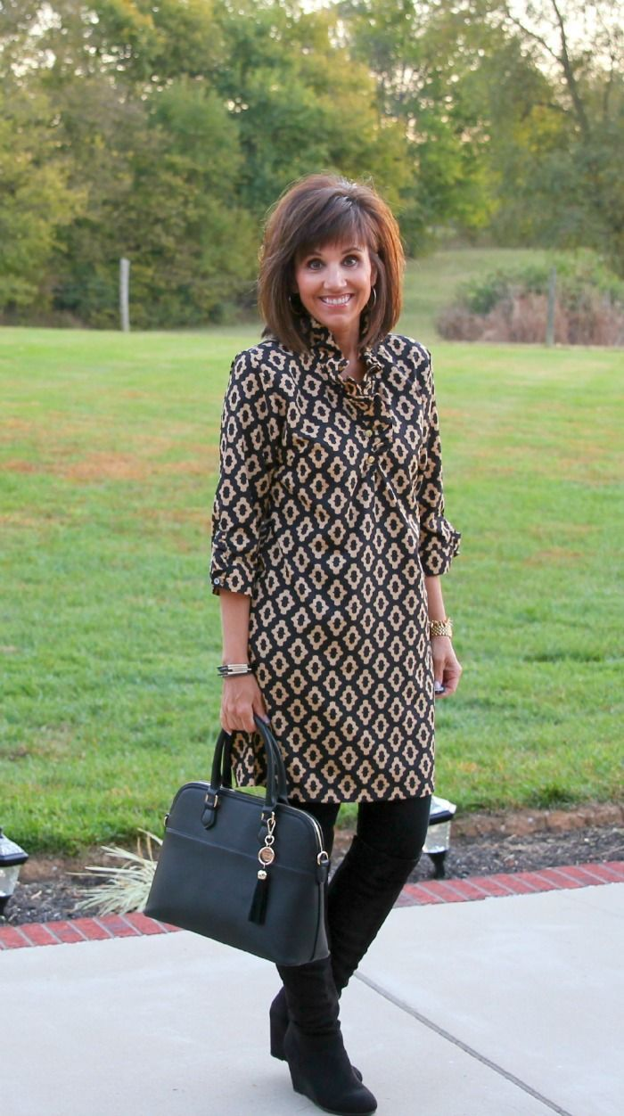 I like it all - length of dress, length of sleeves, purse, little ruffle detail, tights/boots, color.