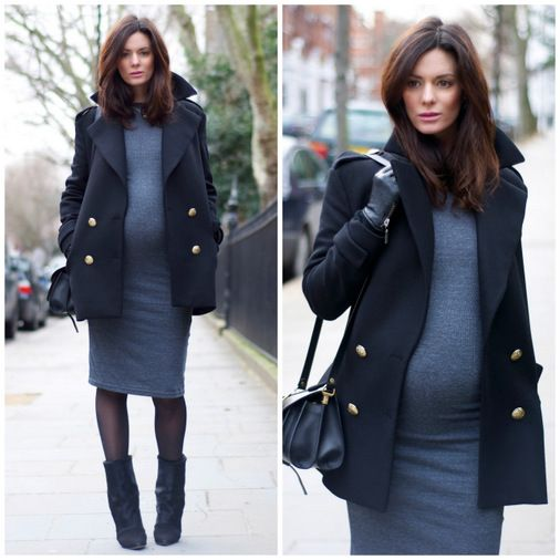 Hedvig Opshaug in Grey Dress and Navy Coat