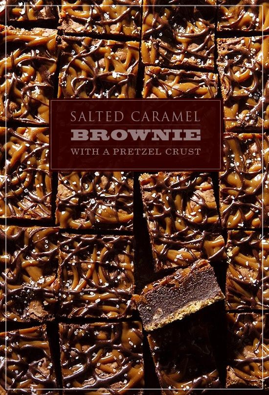 Salted Caramel Brownie with Pretzel Crust