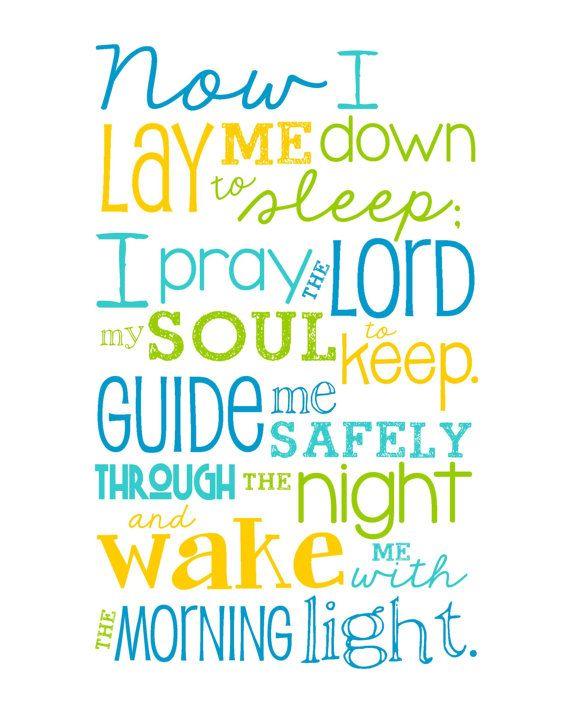 Now I Lay Me Down To Sleep Prayer 8x10 Print Bright