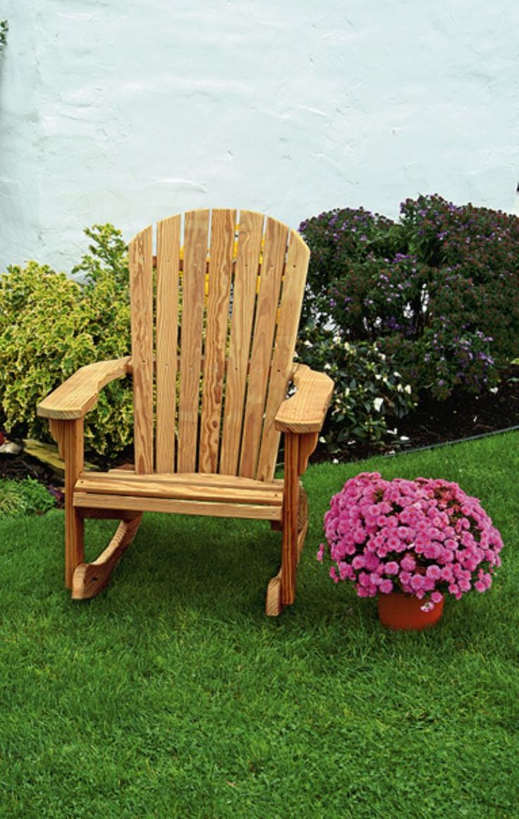 amish pine fan back outdoor rocking chair