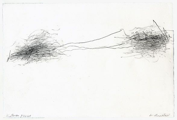 William Anastasi, 'Subway Drawing (V. Dwan)' (1968)    Riding the subway with a piece of paper lying in his lap, Anastasi would hold a pencil lightly, allowing the vibrations of the train to move it across the paper. He would often sign the image with the name of the person he was travelling to see.