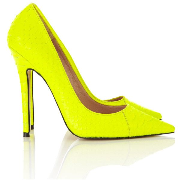 'Paris' Neon Yellow Faux Snakeskin Point Toe Heels ❤ liked on Polyvore featuring shoes, pumps, heels, neon yellow pumps, fluorescent yellow shoes, neon yellow shoes, pointed toe pumps and pointy toe shoes
