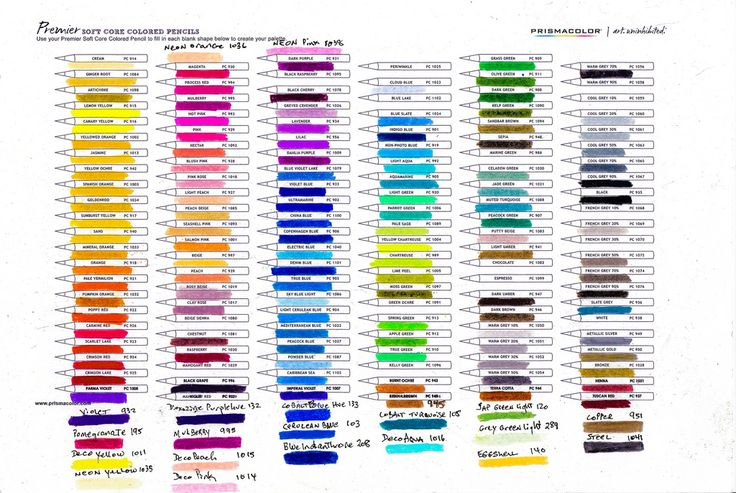 my Prismacolor Premier pencil chart see note new 'neon