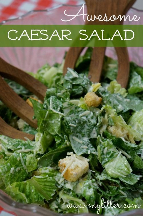 easy caesar salad recipe. The blogger said to  just add chicken to kick it up a notch, but I love it like this!