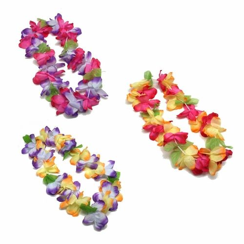 """Whether you are having a beach party, a pool party, or a tropical luau you have come to the right place.  The Mahalo floral leis are apart of our premium lei collection.  These leis are 36"""" in length and have a diameter of 4 1/4"""".  These deluxe Mahalo leis are great for all of your luau guests.  Mahalo means """"thank you"""" in Hawaiian and your luau party guests will definitely be thanking you after they see these great Luau leis.  Made of polyester the Mahalo floral leis are very comfortable…"""