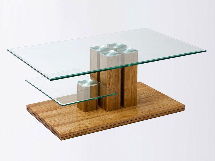 Ława dębowa ze szklanym blatem Dubel 14