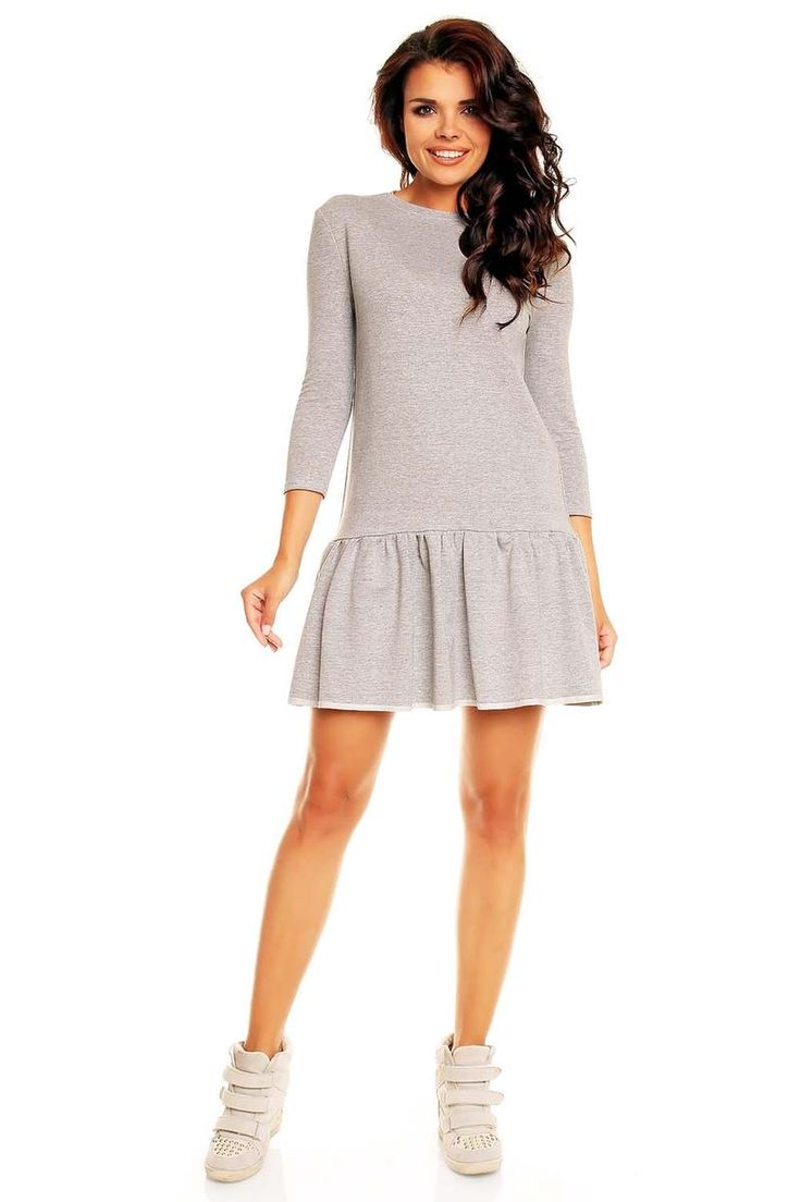 Grey, frilled, 3/4 sleeves, casu-sporty Molly dress