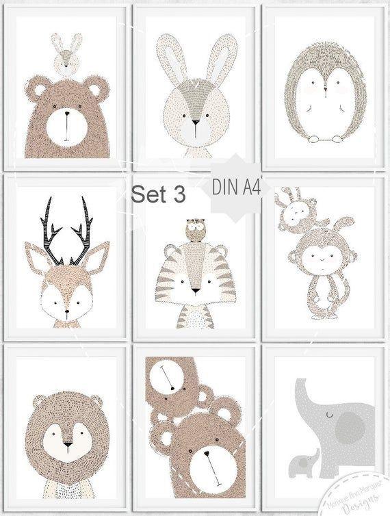 kinderzimmer babyzimmer bilder tiere tier bild poster