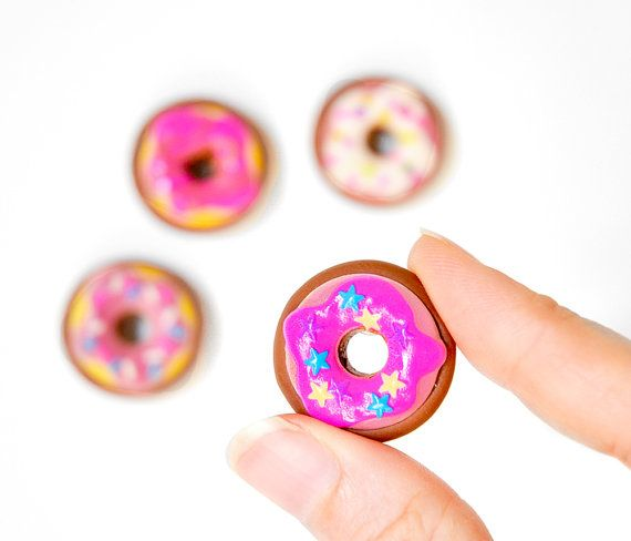 Donut Magnets Kitchen Decoration in Bright Pastel Pinks and Purples Easter Basket Gift Ideas for the Office, Kids, School, or Home Decor