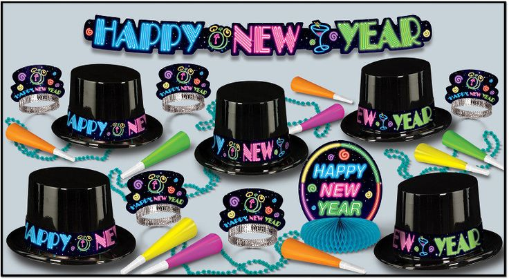 New Years Neon Party Assortment for 10 - Pack