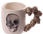 Coffee Mug Novelty Skulls Stack Shaped Handle Ceramic Cup Gothic New Gift Idea