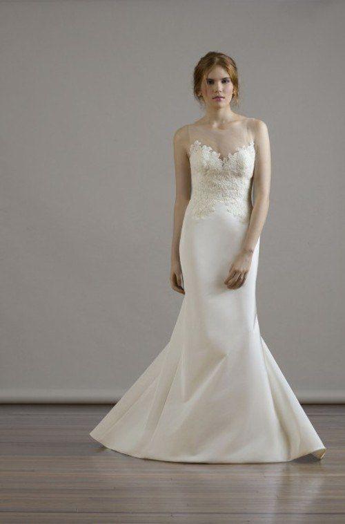 Floral appliques add a flirty, romantic detail to this wedding dress! Fall 2015 Liancarlo Wedding Dresses